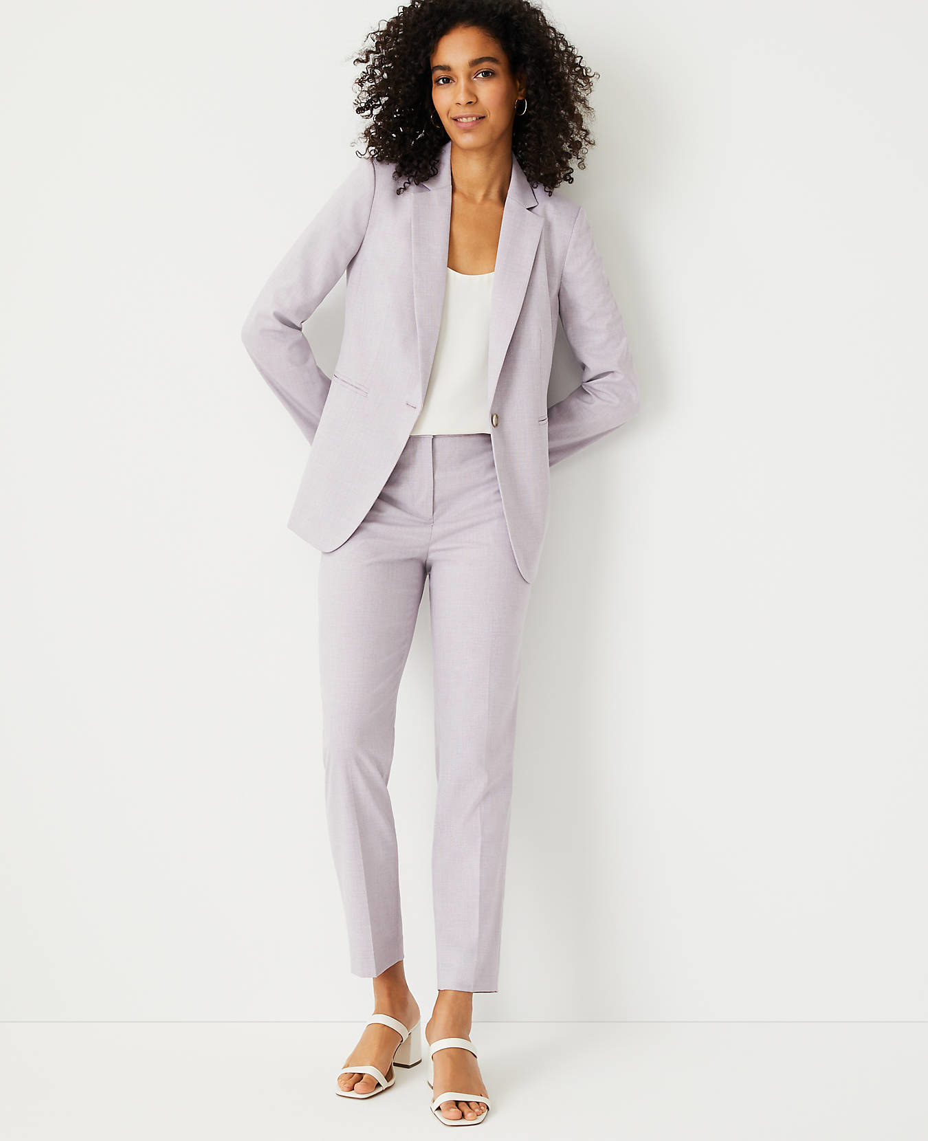 model wearing the purple blazer and pants