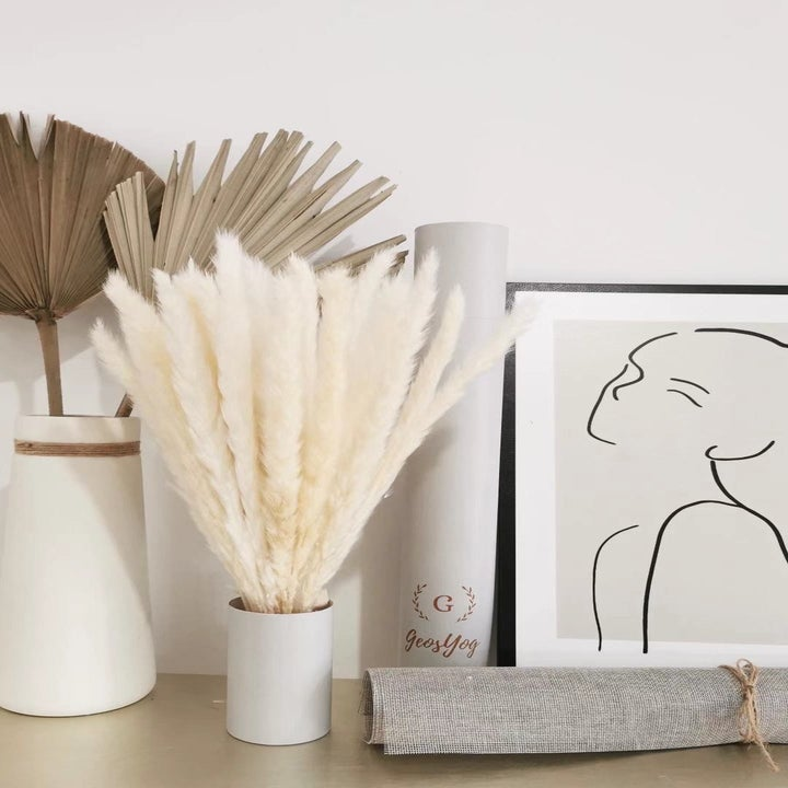 a reviewer's bouquet of white pampas grass in a vase