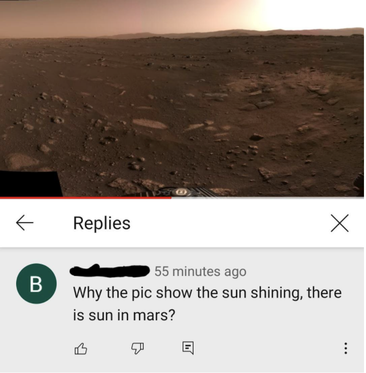 mars picture with a comment reading why the pic show the sun shining there is sun in mars