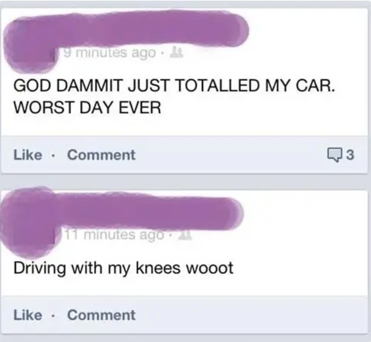 person driving with their knees who crashes their car