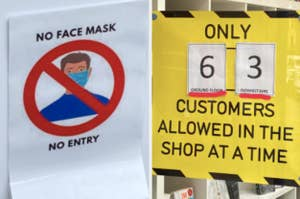 """confusing """"no face mask no entry"""" sign alongside confusing sign about number of customers allowed in store"""