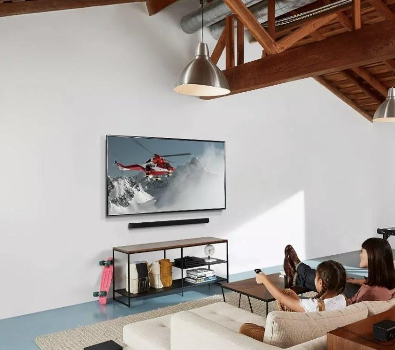 The sound bar under a TV