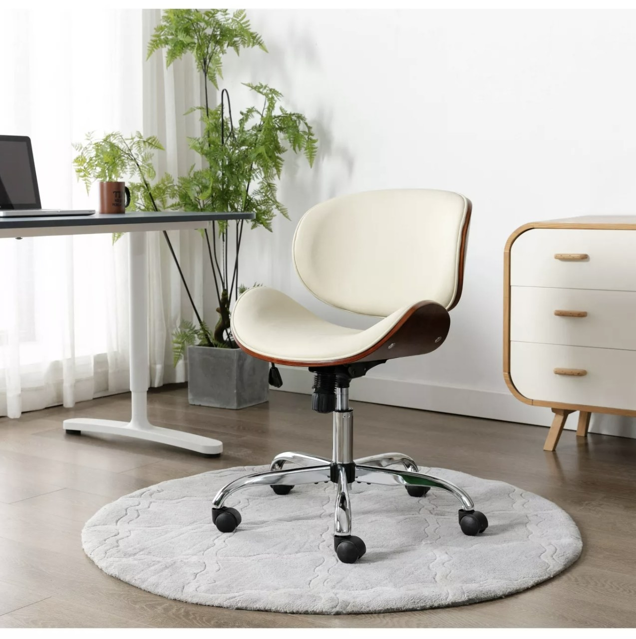 The office chair in a cream color