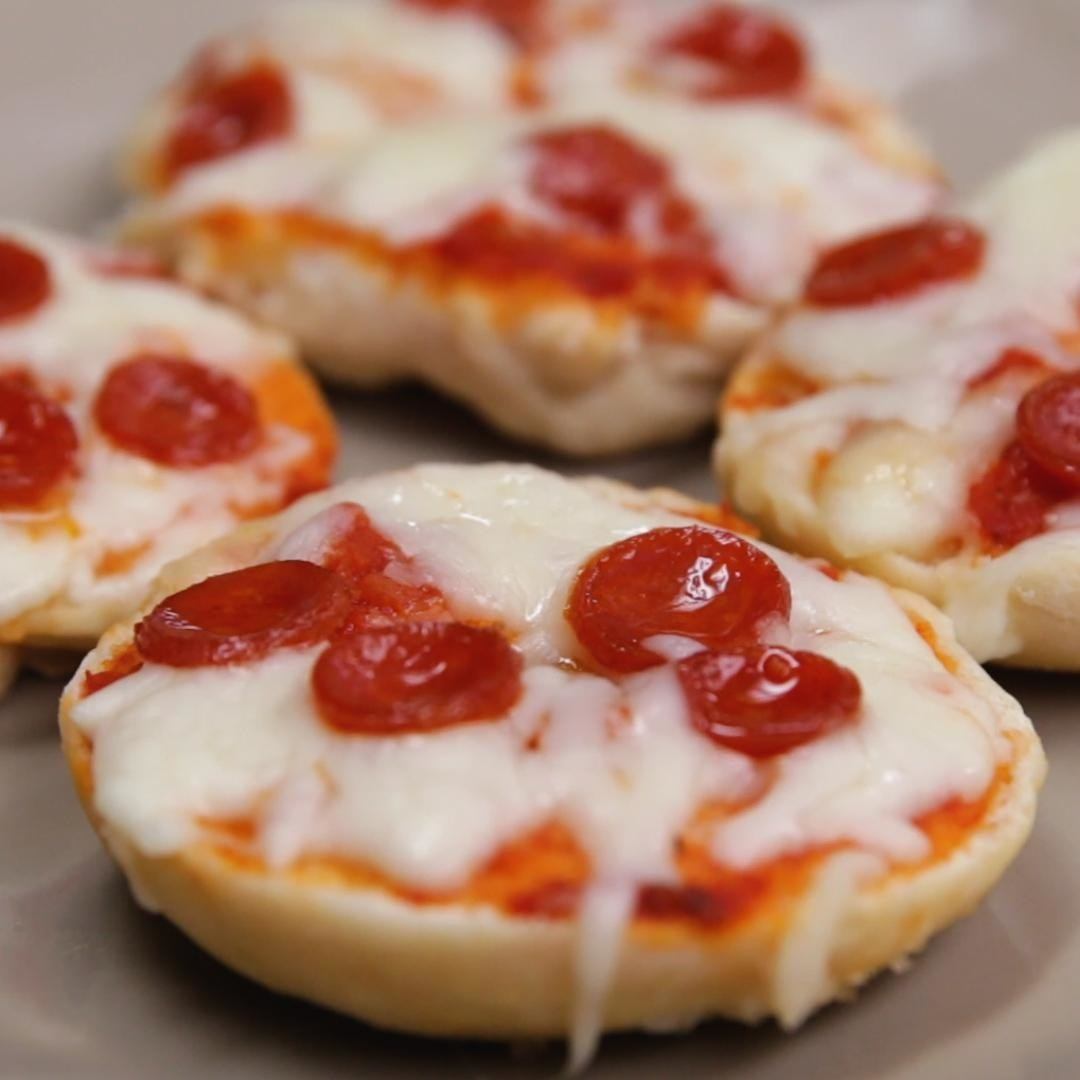 The bagels with cheese and pepperoni