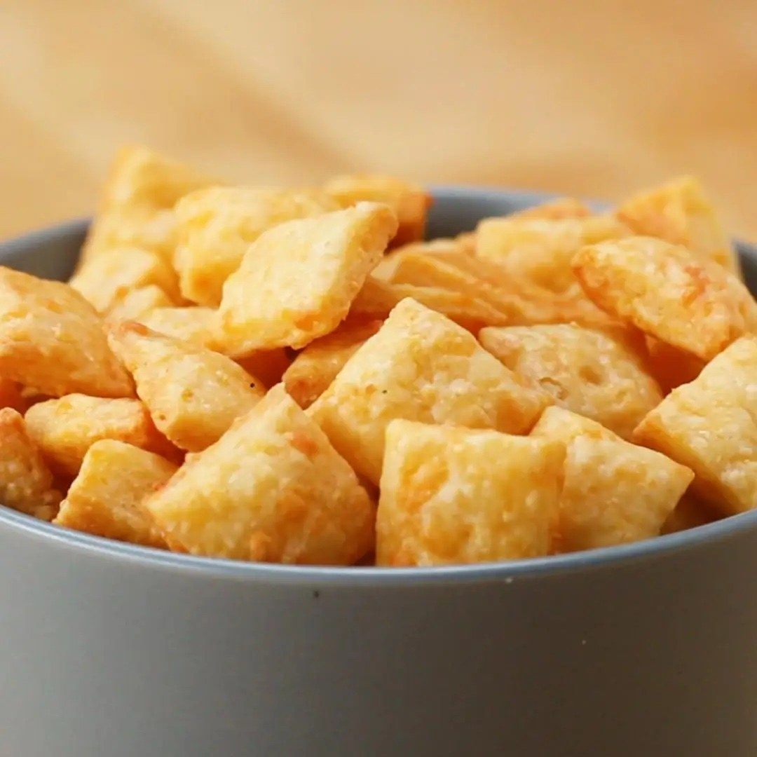 The orange crackers in a bowl