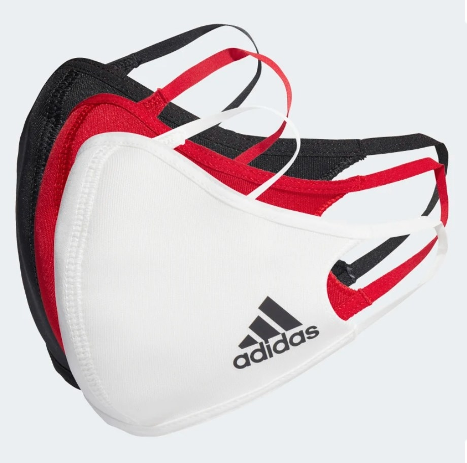 Red, white, black face masks with Adidas logo