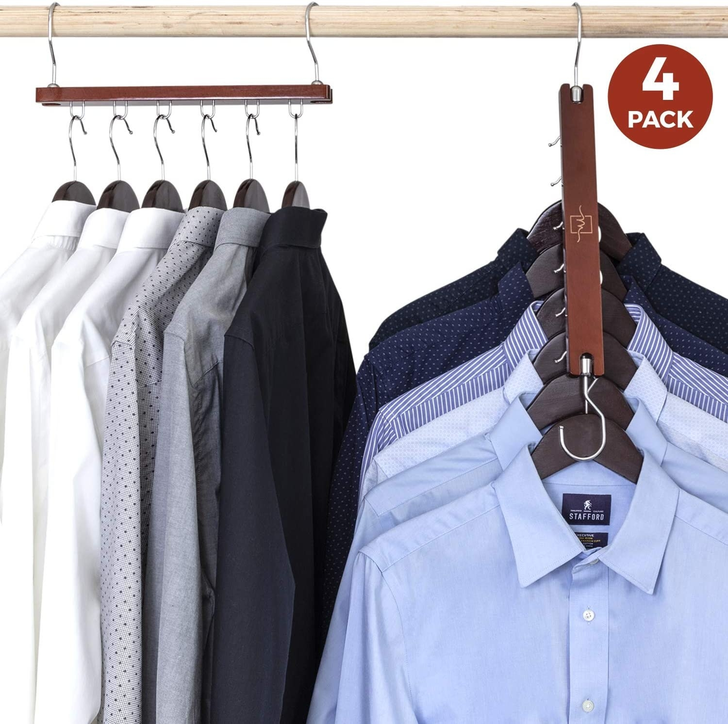 Dress shirts on the hanger folded down in a closet