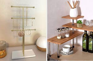 jewelry organizer on the left and a corner shelf on the right