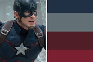 Steve Rogers next two the four colors that make his costume
