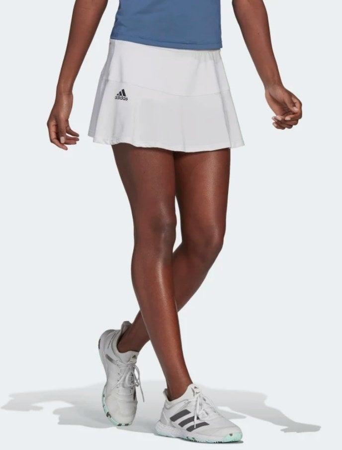 Model wearing the tennis skirt