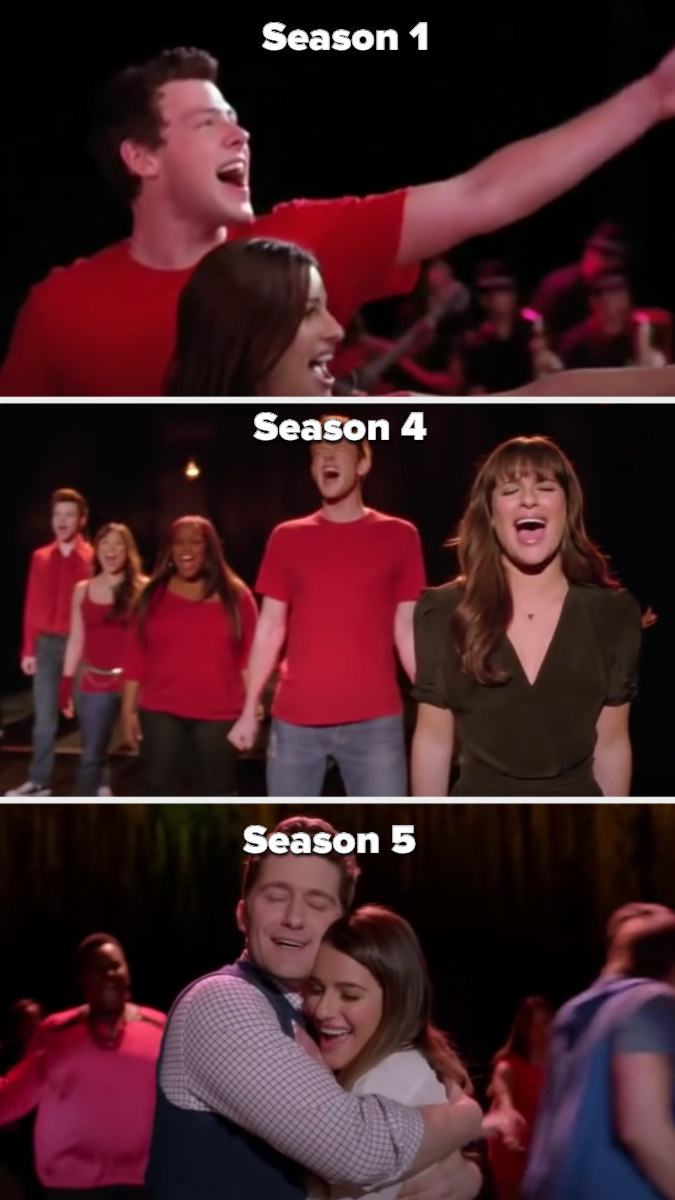 """New Directions singing """"Don't Stop Believing"""" in the pilot then Rachel imagining they're all with her in Season 4, then Rachel hugging Mr. Shue as the new and old Glee club sing the song in Season 5"""