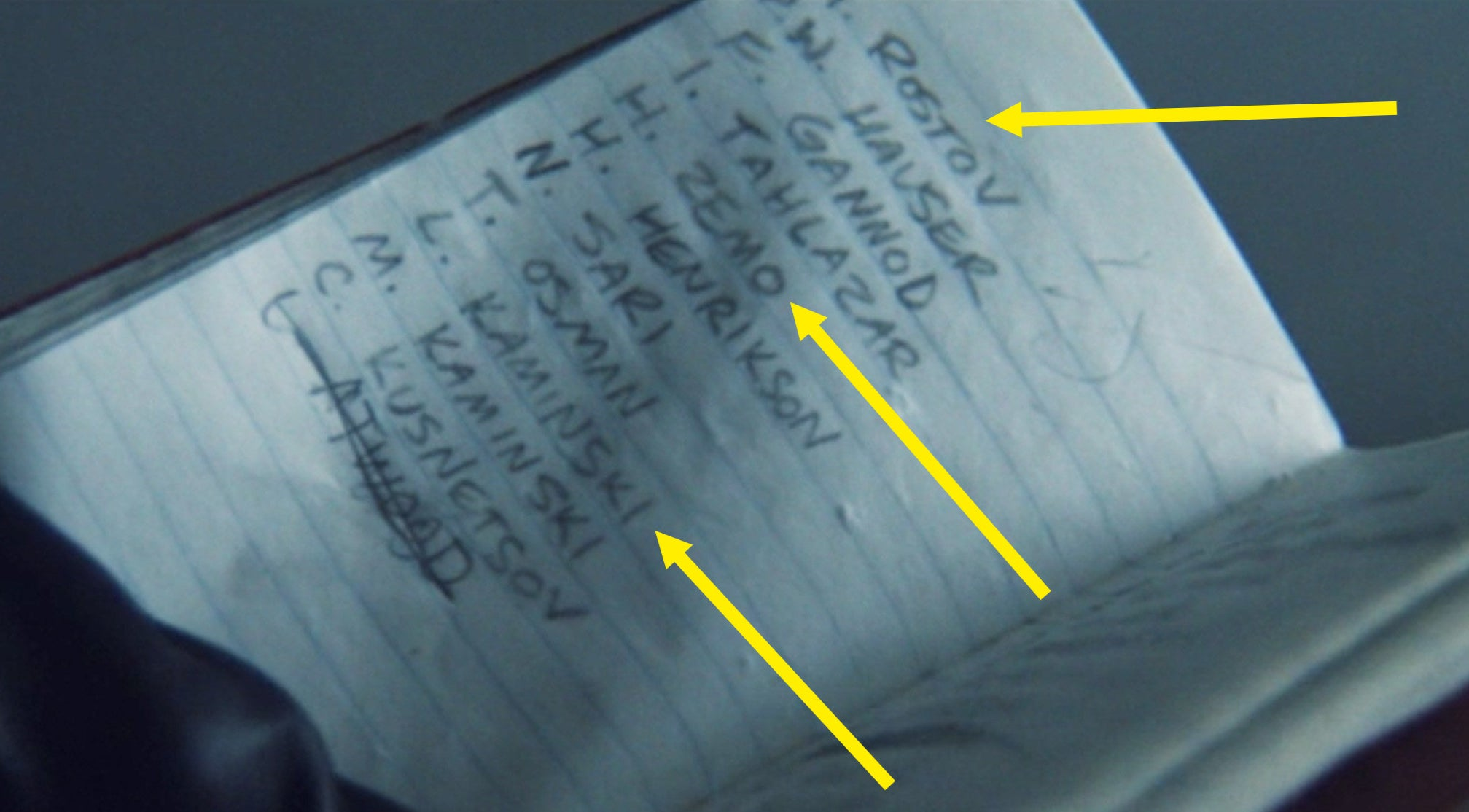 Bucky's notebook filled with names