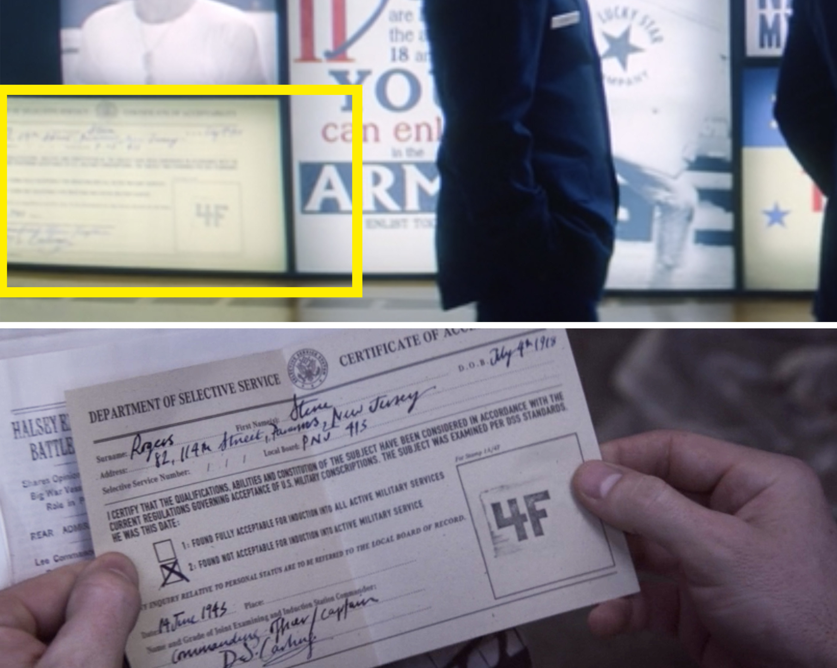 """Steve's card with a giant """"4F"""" stamp"""