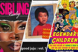 Cover art of Sibling Rivalry, album art for good juju: vol. 1, and book cover of Legendary Children