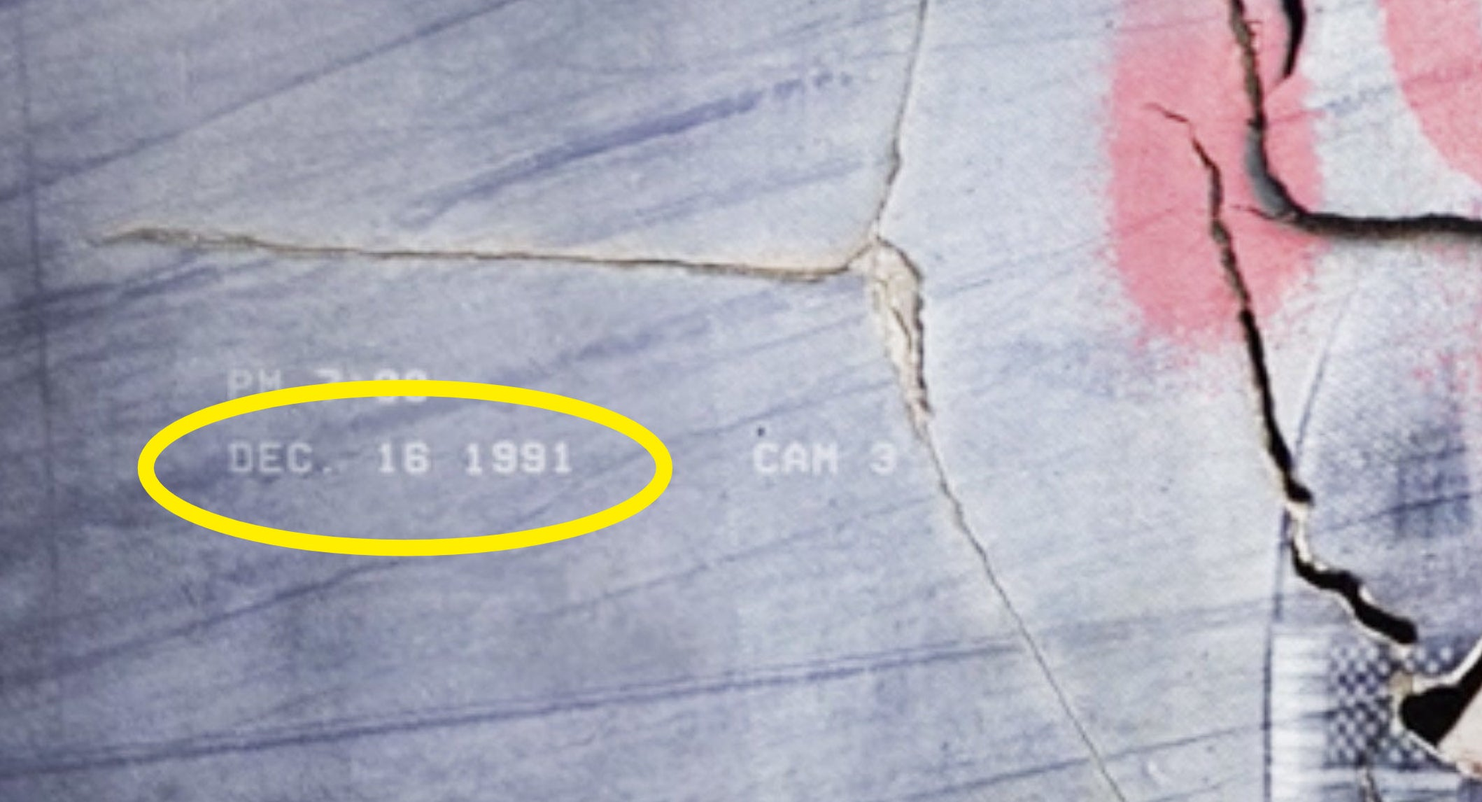 A yellow circle around the date Dec. 16, 1991