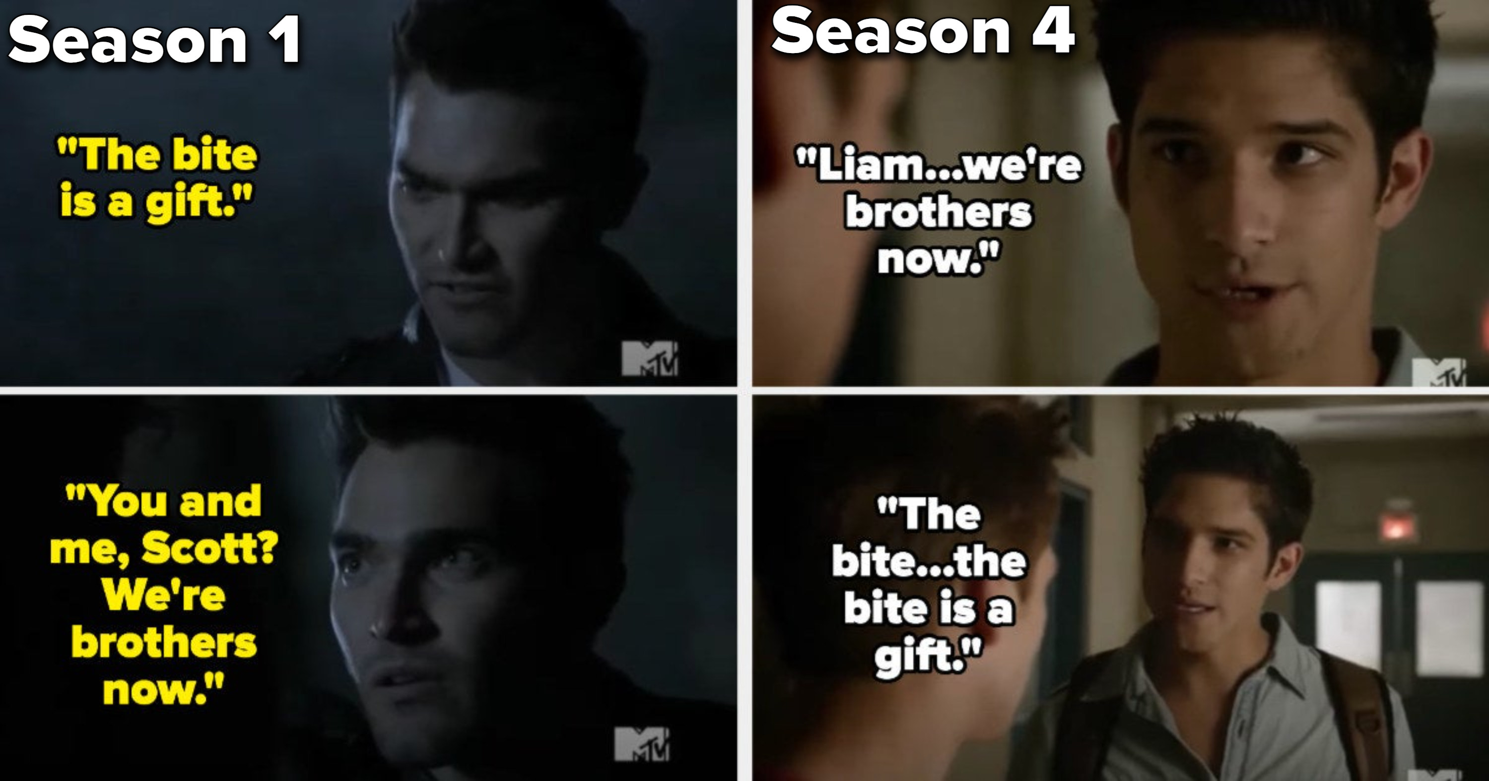 """In Season 1, Derek tells Scott """"the bite is a gift"""" and that they're brothers now, and Scott says the same thing to Liam in Season 4"""