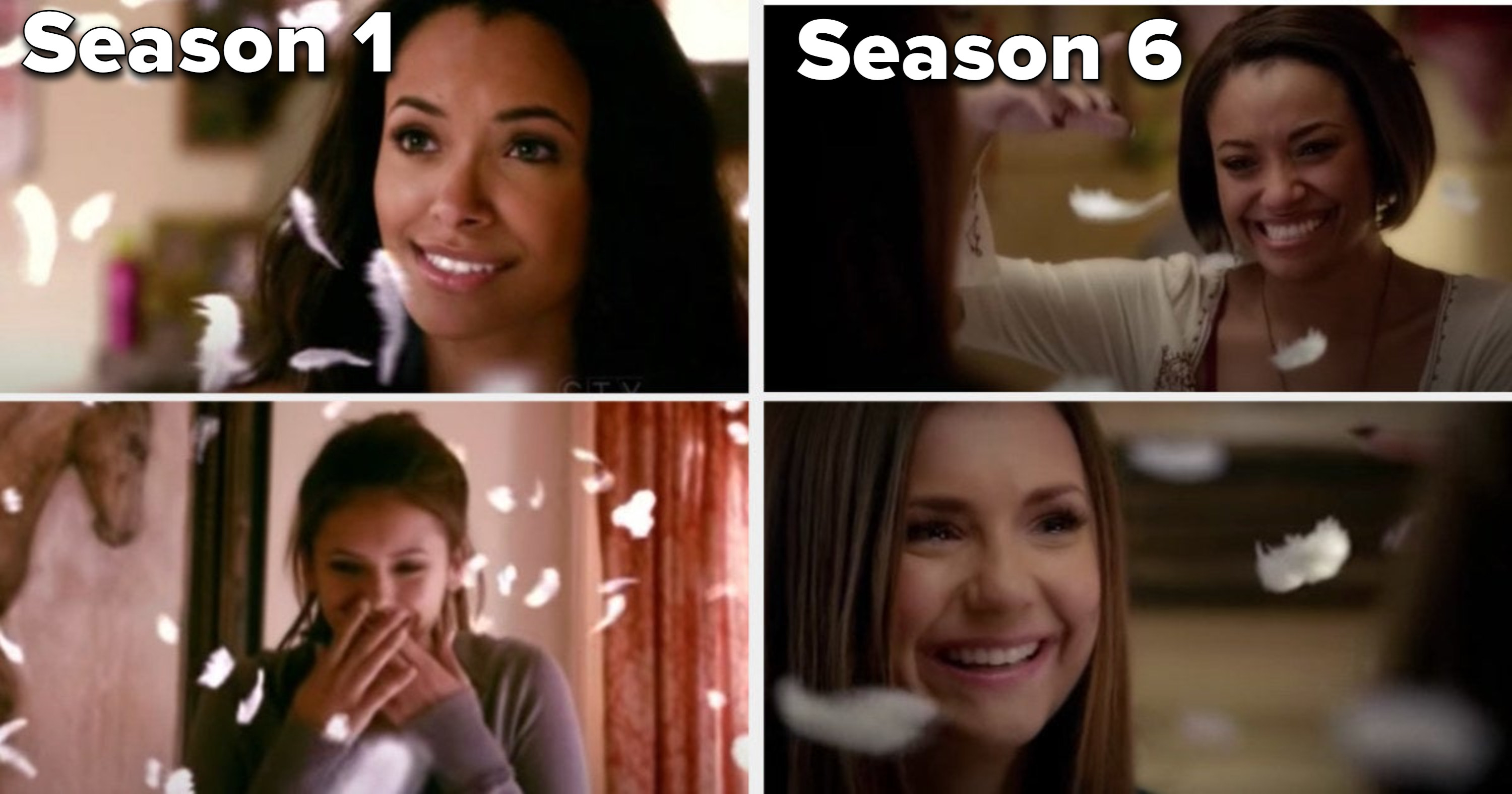 In Season 1, Bonnie floats feathers as Elena smiles in shock, and in Season 6, they both laugh through their tears as Bonnie does the same thing