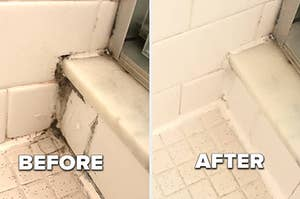 before, a moldy shower corner, after, the same corner with no mold in sight