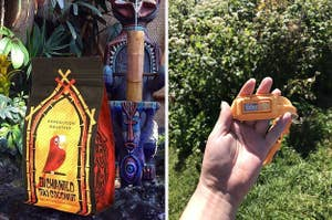 to the left: a bag of coffee inspired by disney's enchanted tiki room, to the right: a headlamp