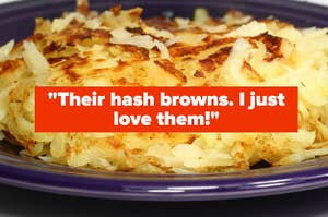 A plate of golden hash browns