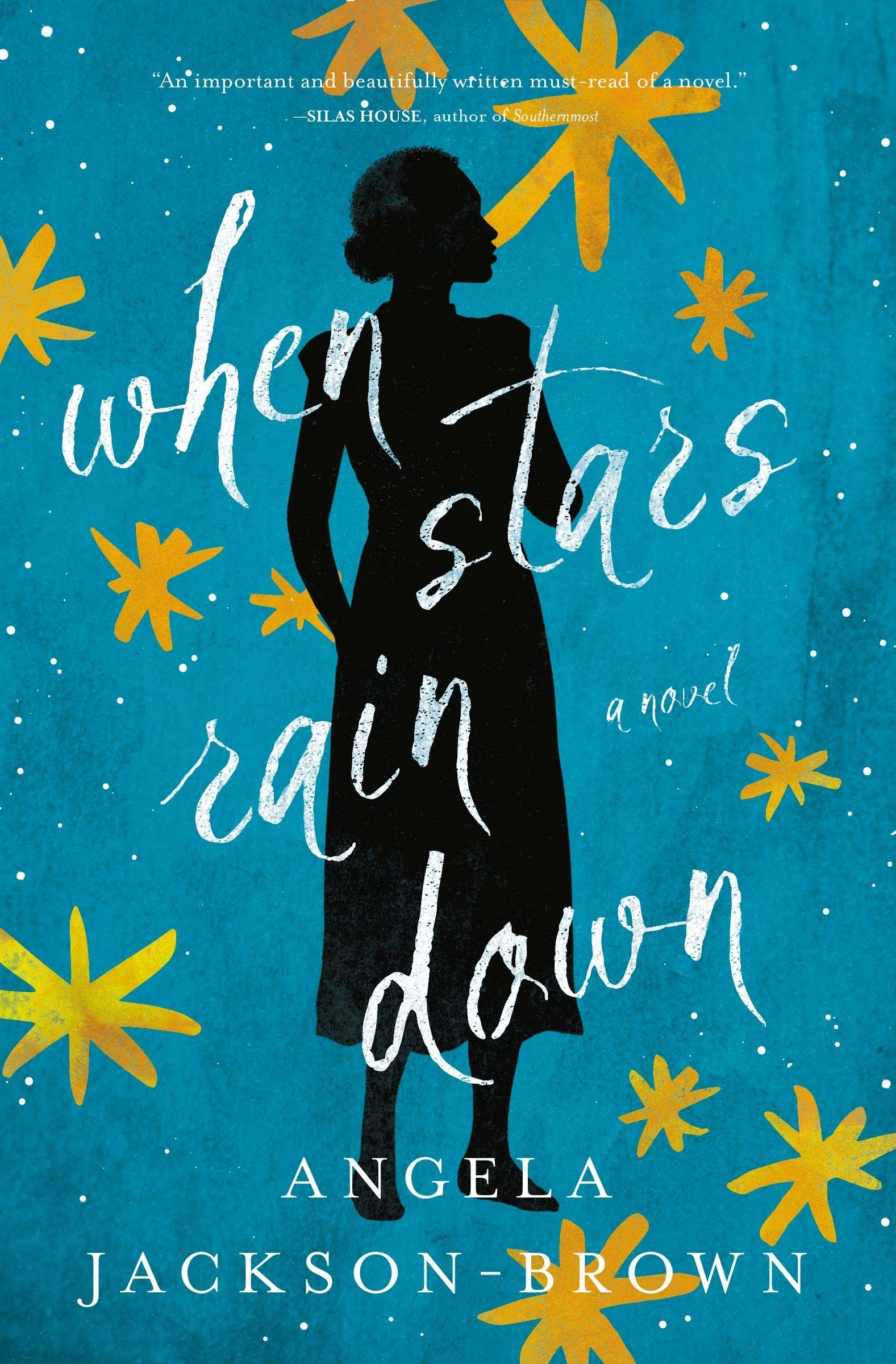 the book's cover with stars and a standing woman