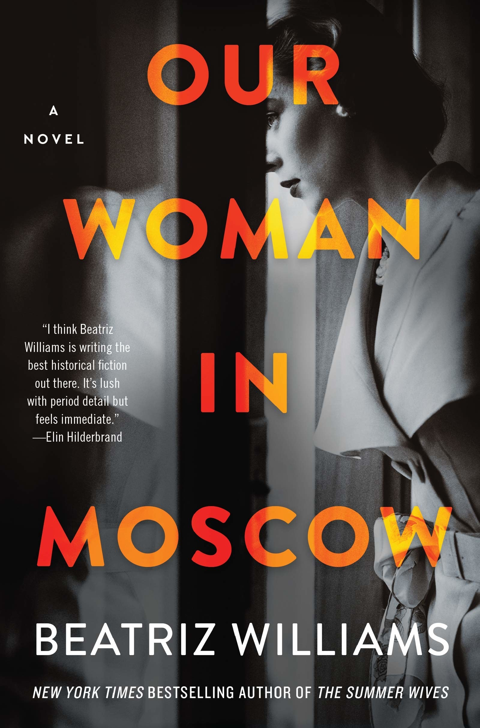 the book cover with black-and-white photo of woman looking out of window