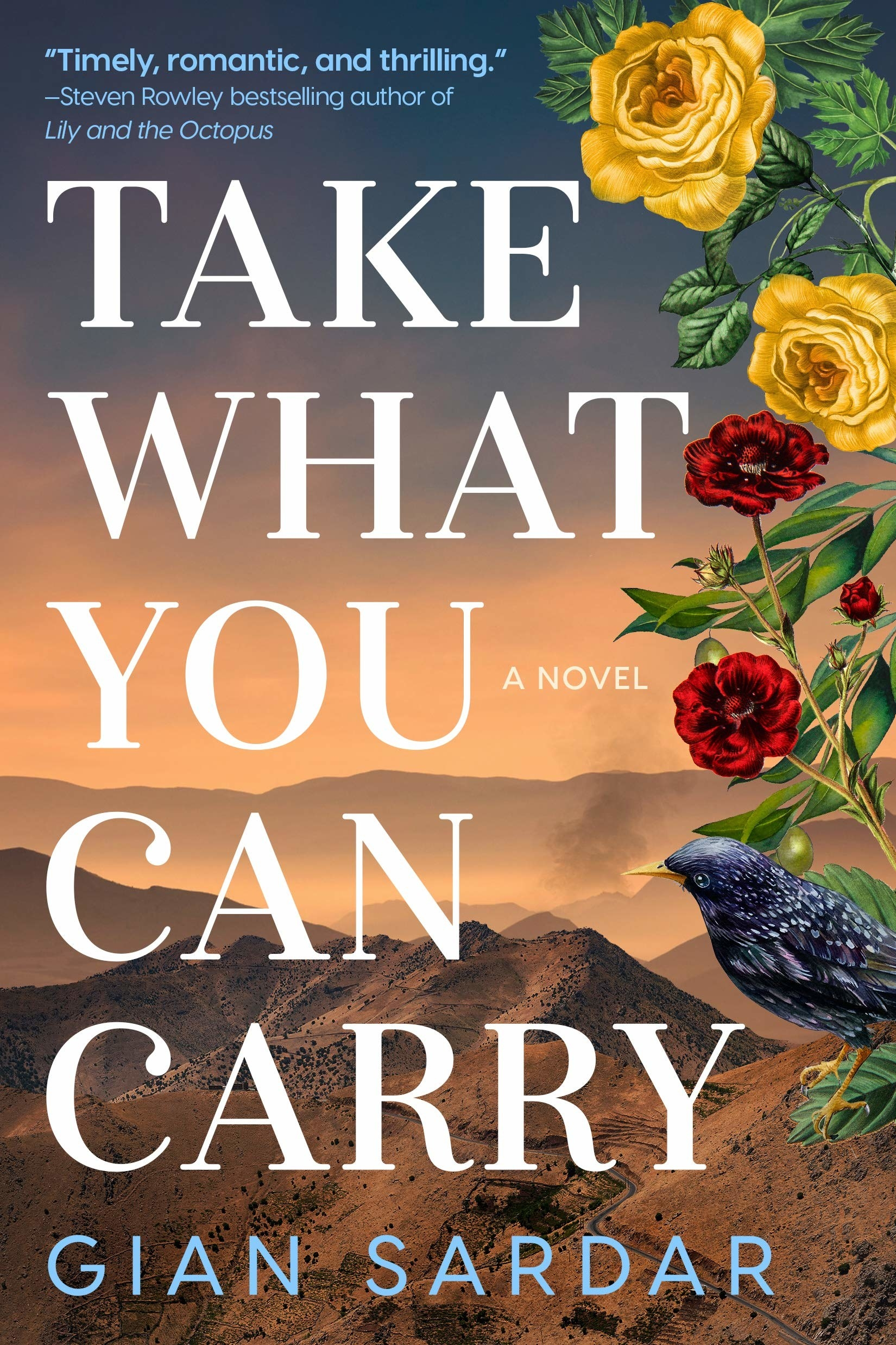 cover of the book with a valley-like landscape, flowers, and a black bird
