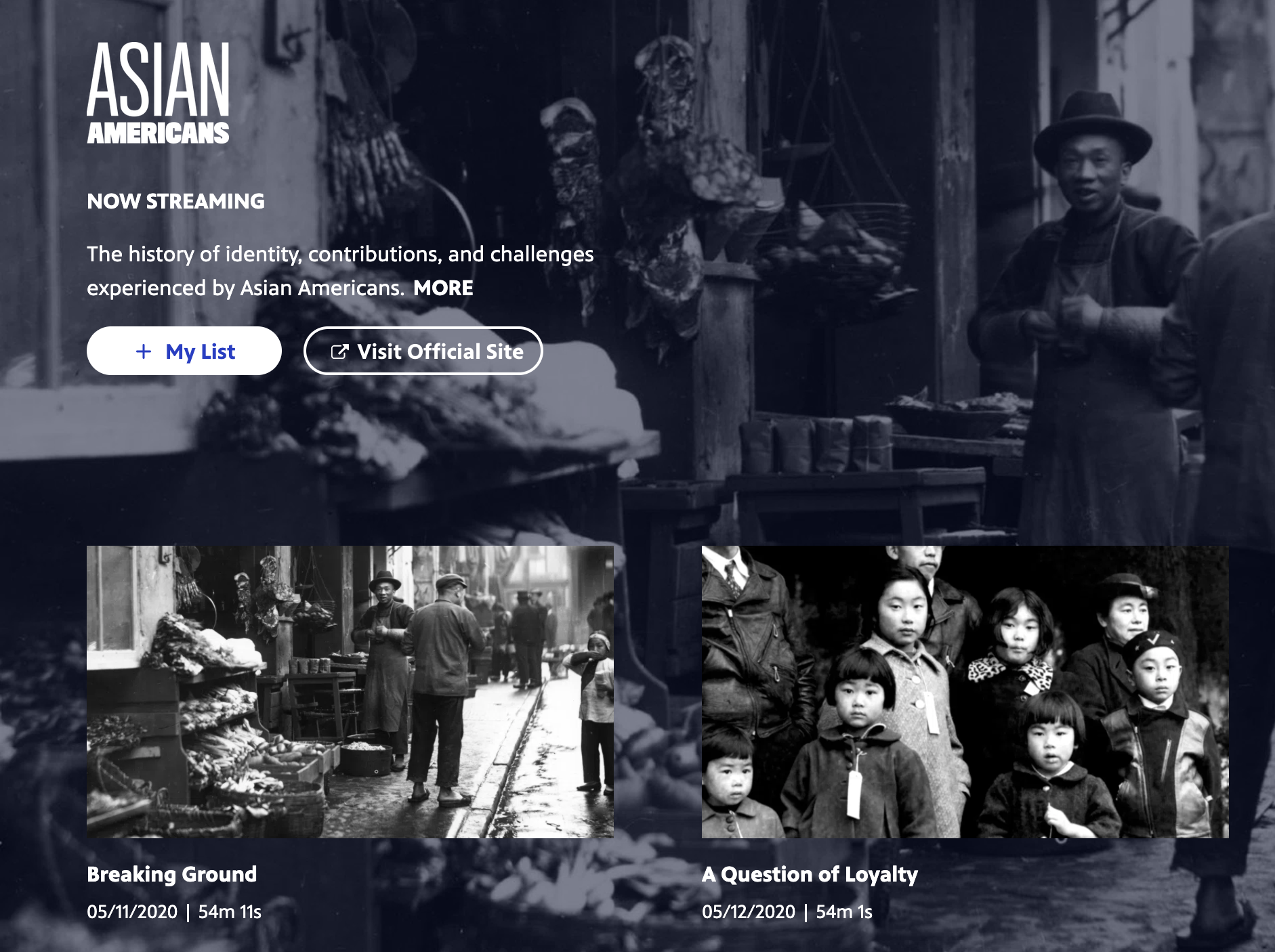 """A screenshot of the series page for """"Asian Americans"""" on PBS"""
