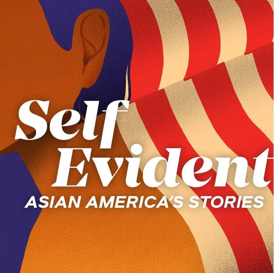 The podcast art for the Self Evident: Asian American Stories podcast showing the side profile of a person with brown skin against an American flag