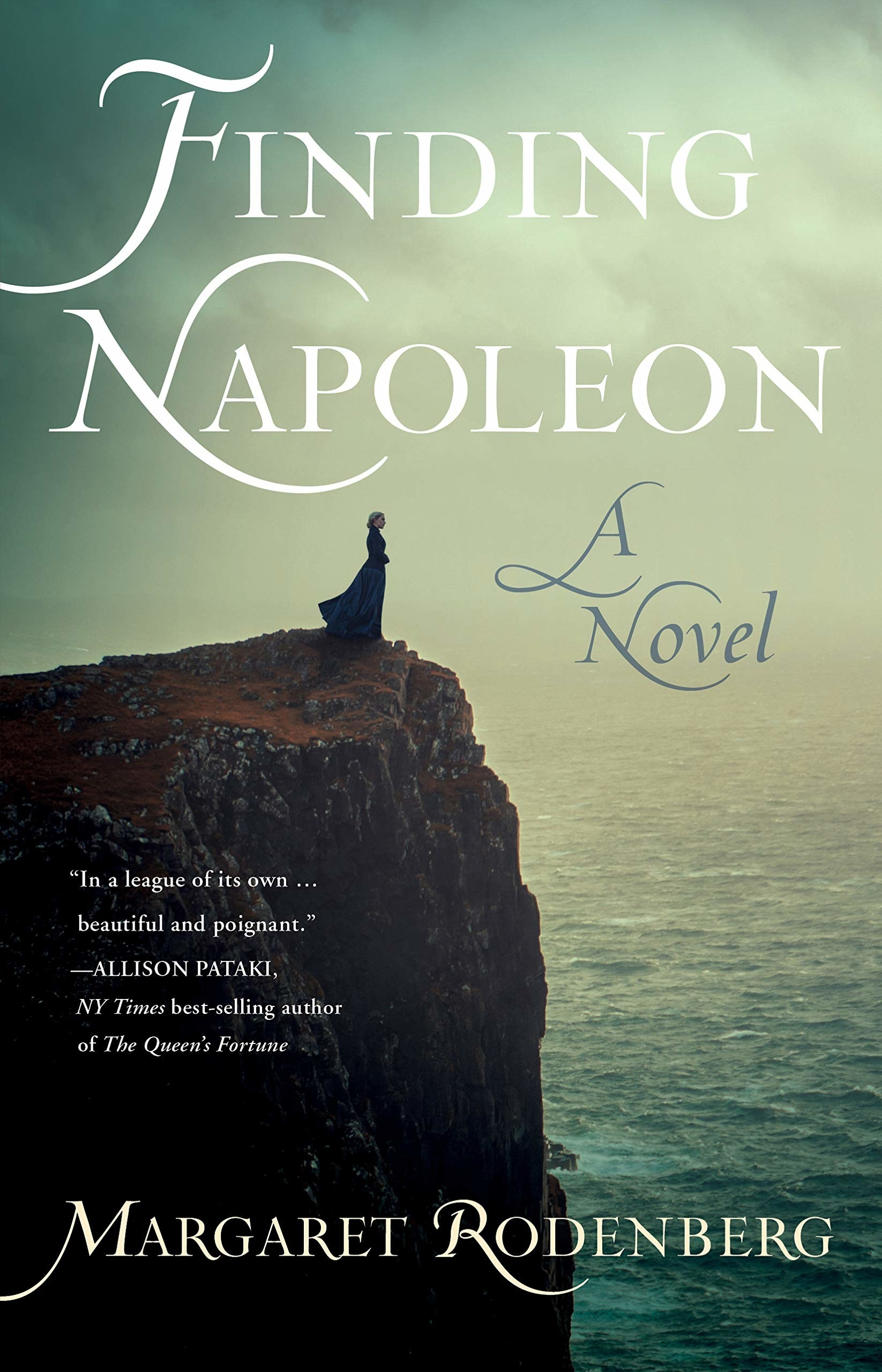 cover of the book with a woman standing over a cliff above a sea