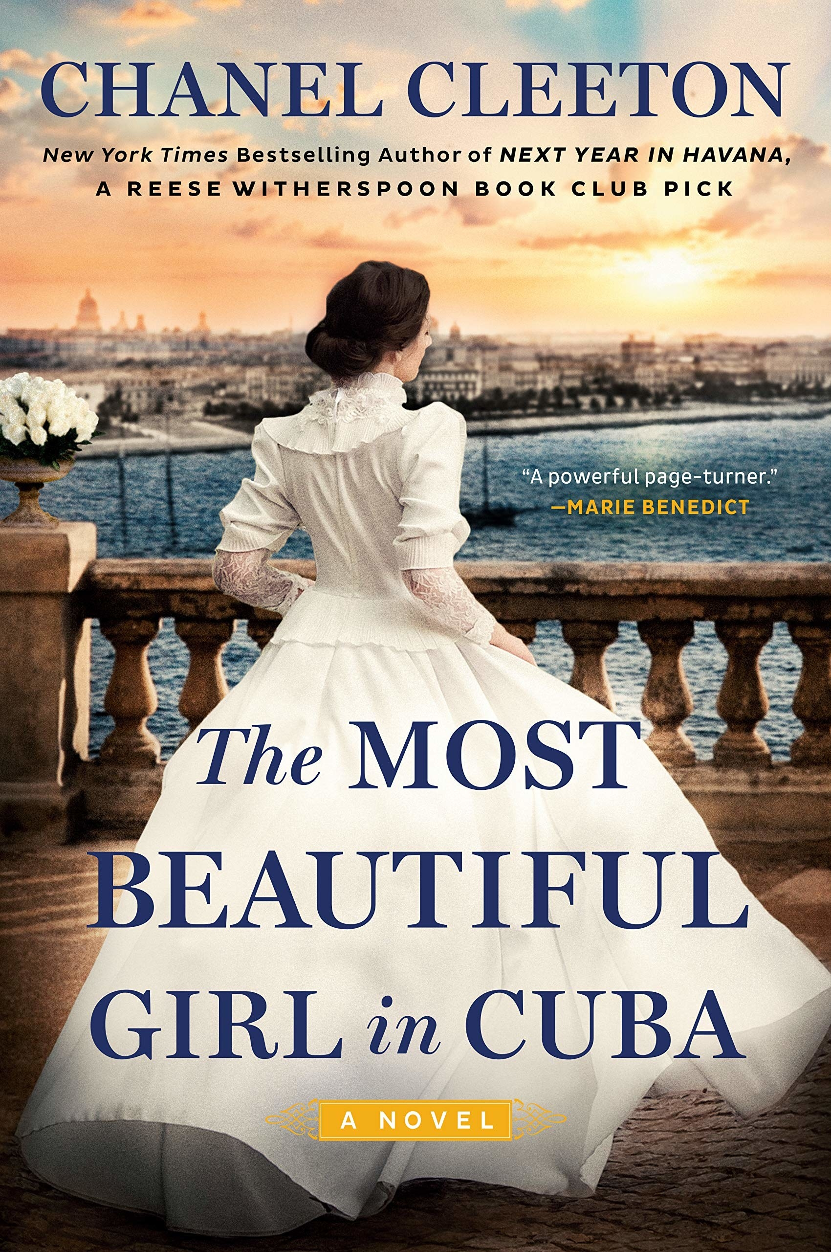 the book's cover with a woman in a long dress overlooking a harbor