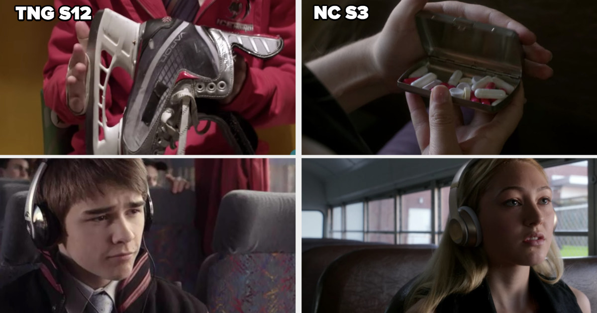 Cam and Maya both wearing the same headphones on bus before harming themselves