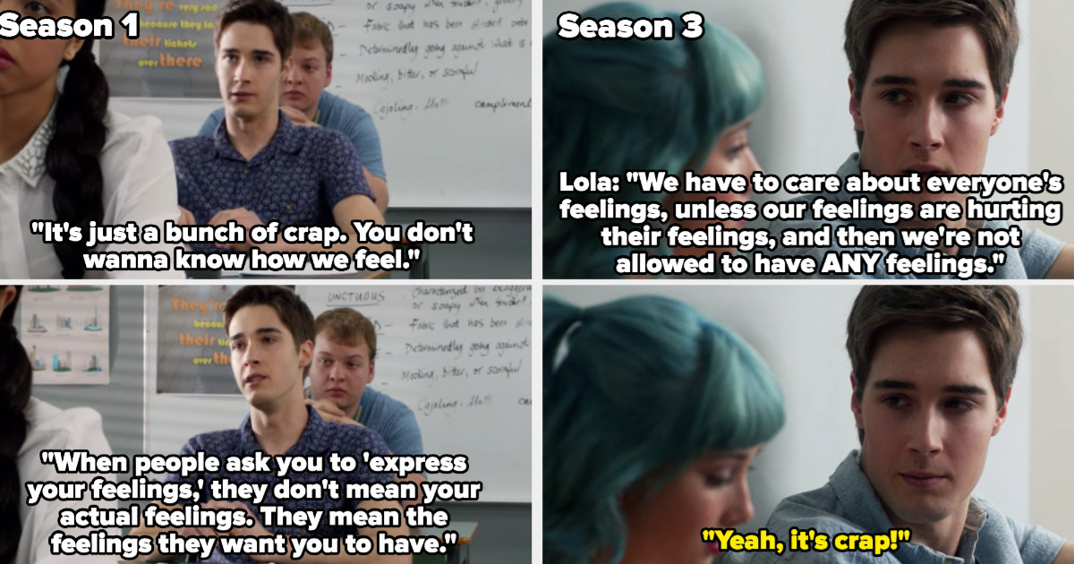 Miles' monologue about how people don't want to know how you really feel alongside Lola saying they have to care about everyone's feelings and aren't allowed to have any feelings of their own