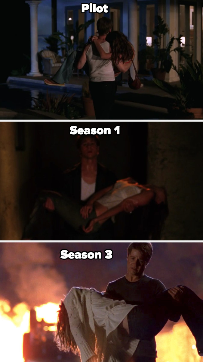 Ryan carrying a passed out Marissa to his pool house in Season 1, then saving her after her overdose, then carrying her in his arms after her death