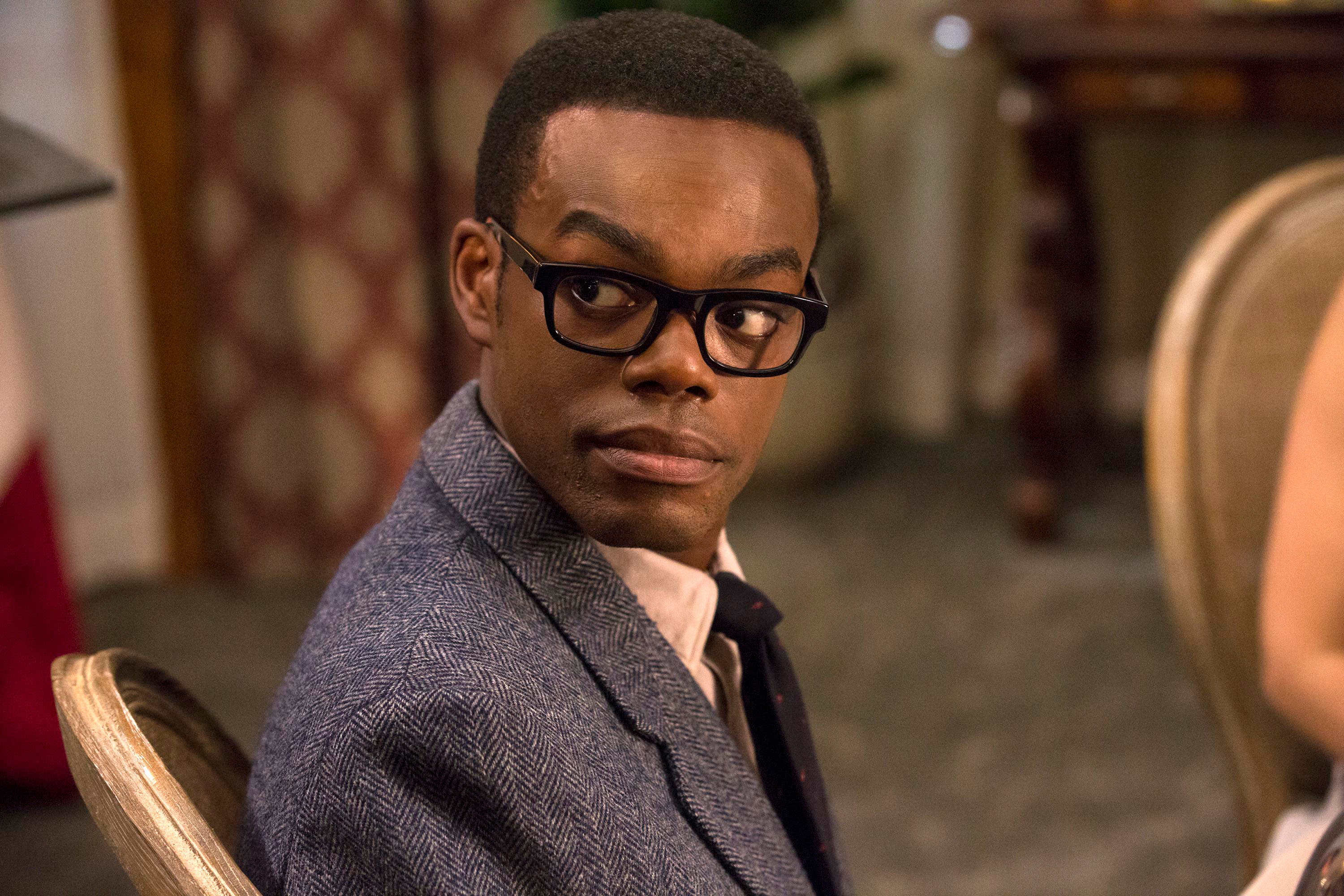 Chidi looking back in The Good Place