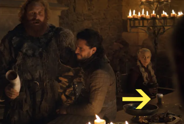 coffee cup in Game of Thrones scene in front of Daenarys