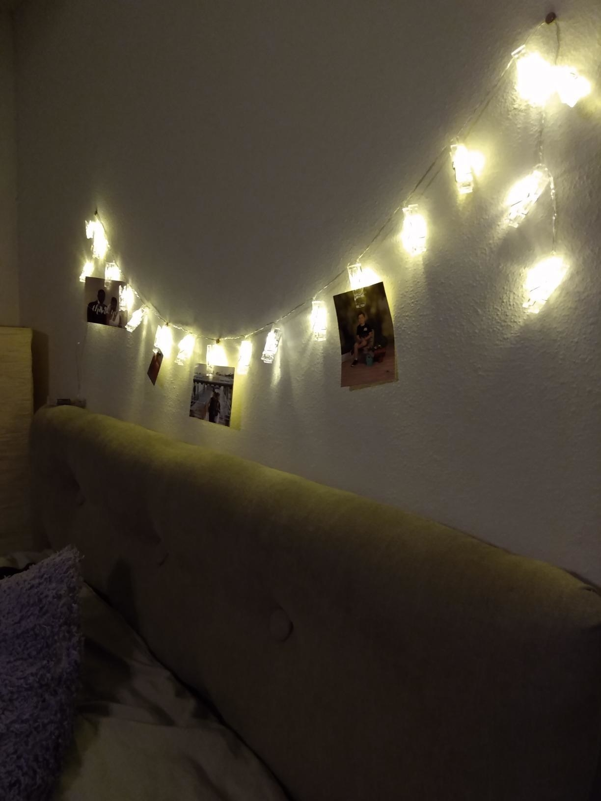 The lights, illuminated and hung from a wall, with a few photos hanging from the clips