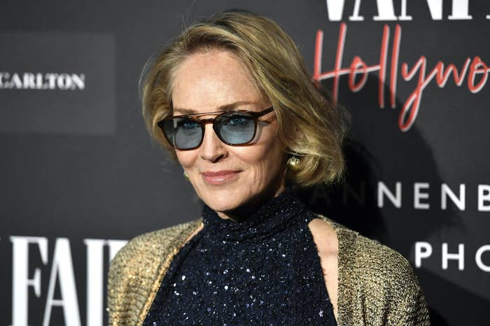 Sharon Stone at a Vanity Fair party in February 2020 in Culver City