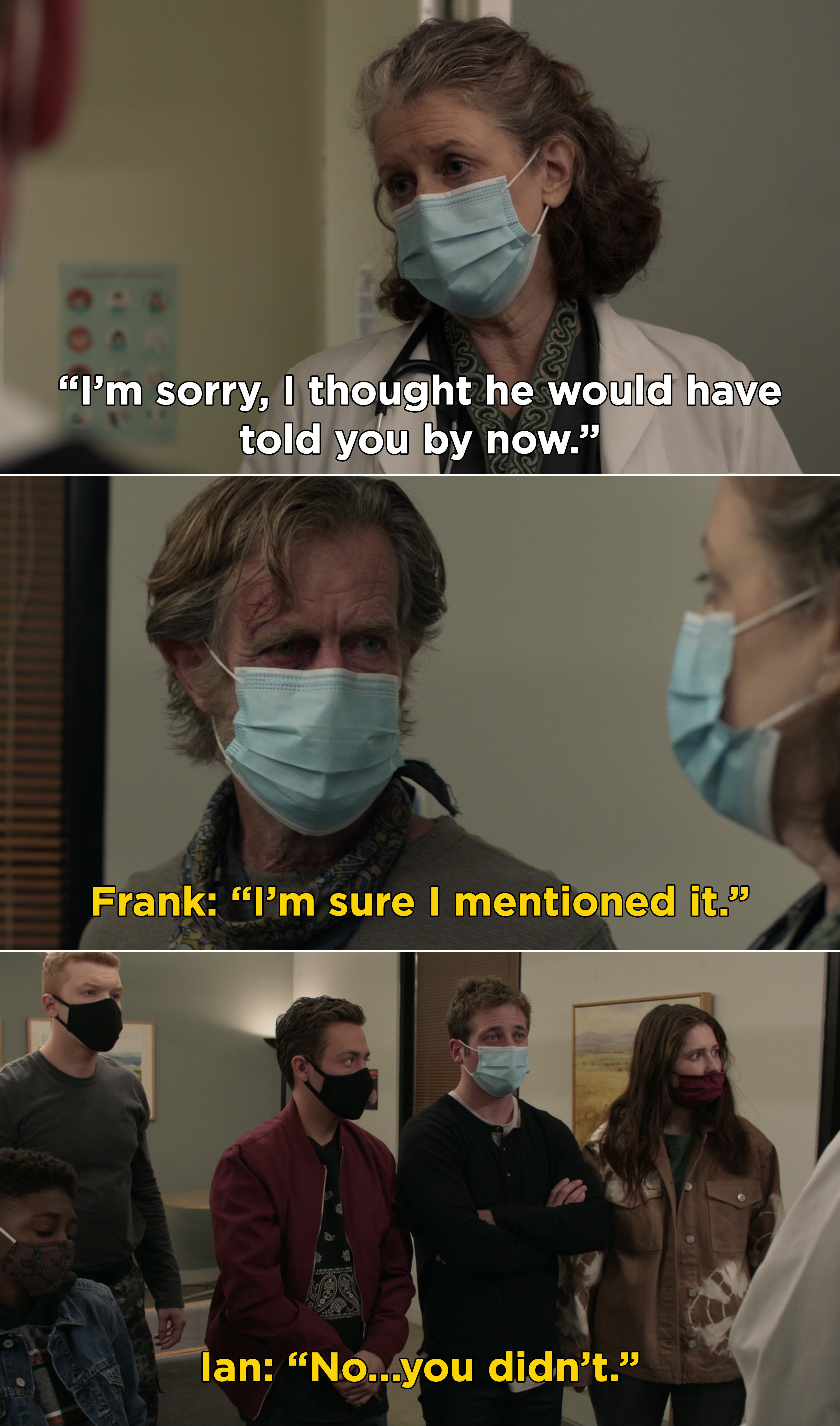 A doctor telling the Gallaghers that Frank has dementia and Frank saying he told them, but he never did