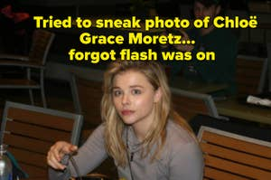 Chloë Grace Moretz eats at a food court and stares into a camera, surprised