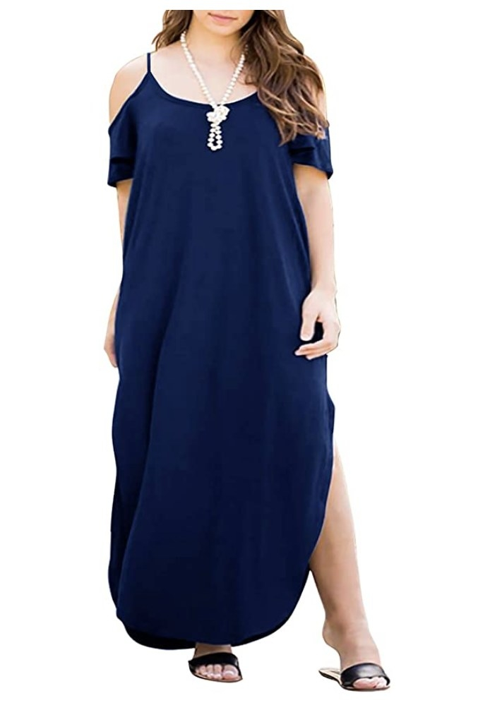 the dress on a model in navy