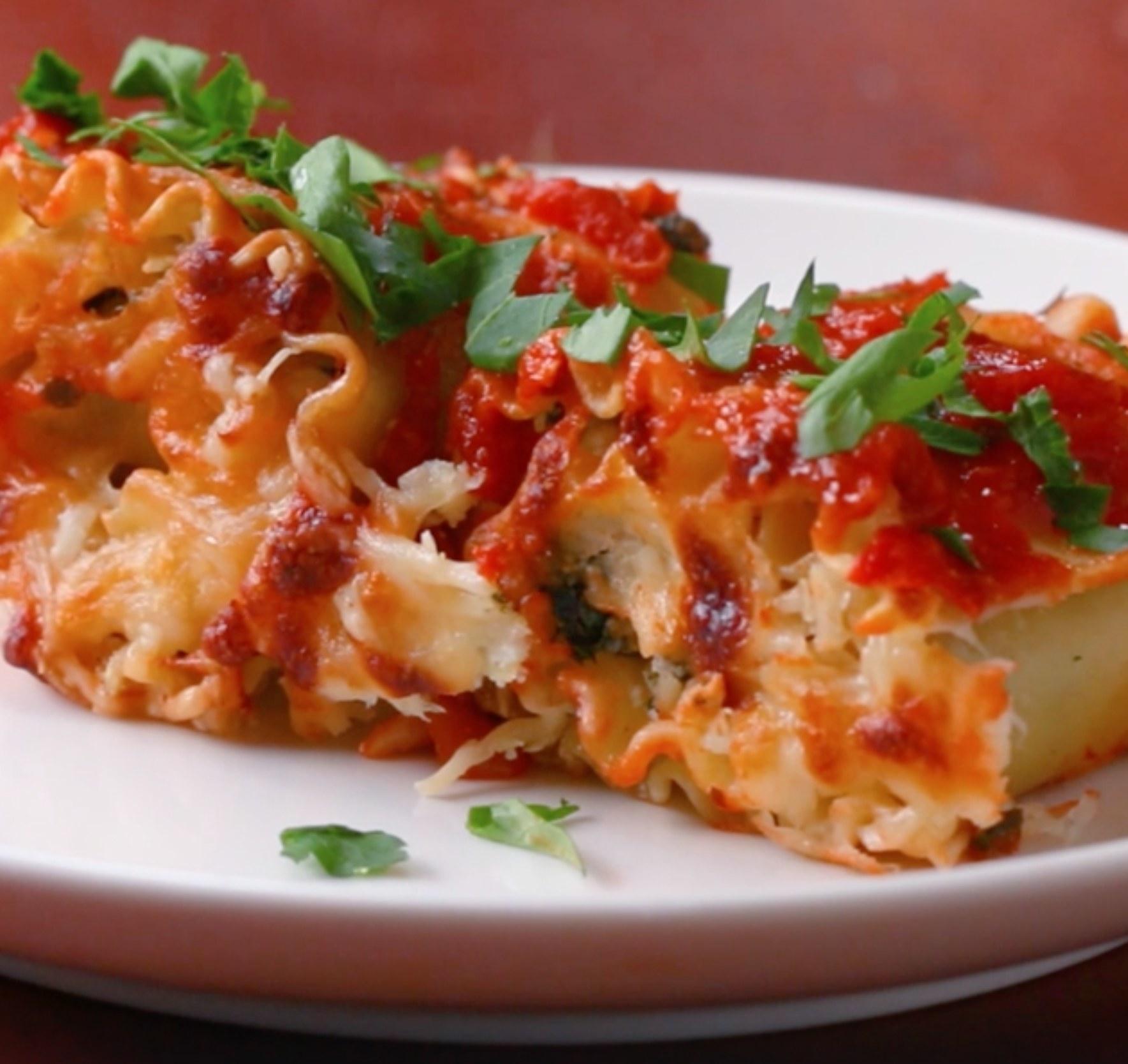 Spinach lasagna rollup