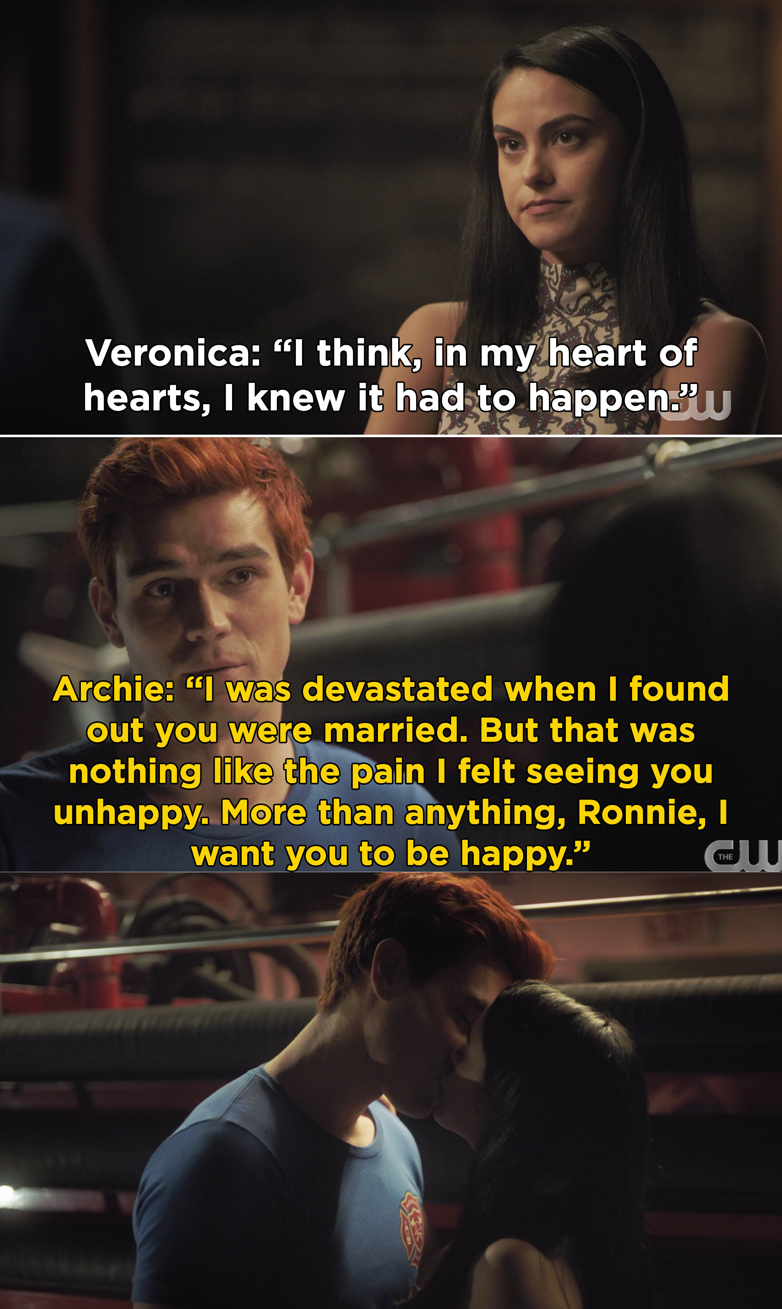 """Archie telling Veronica that he was """"devastated' when he found out she was married because he didn't like seeing her unhappy"""