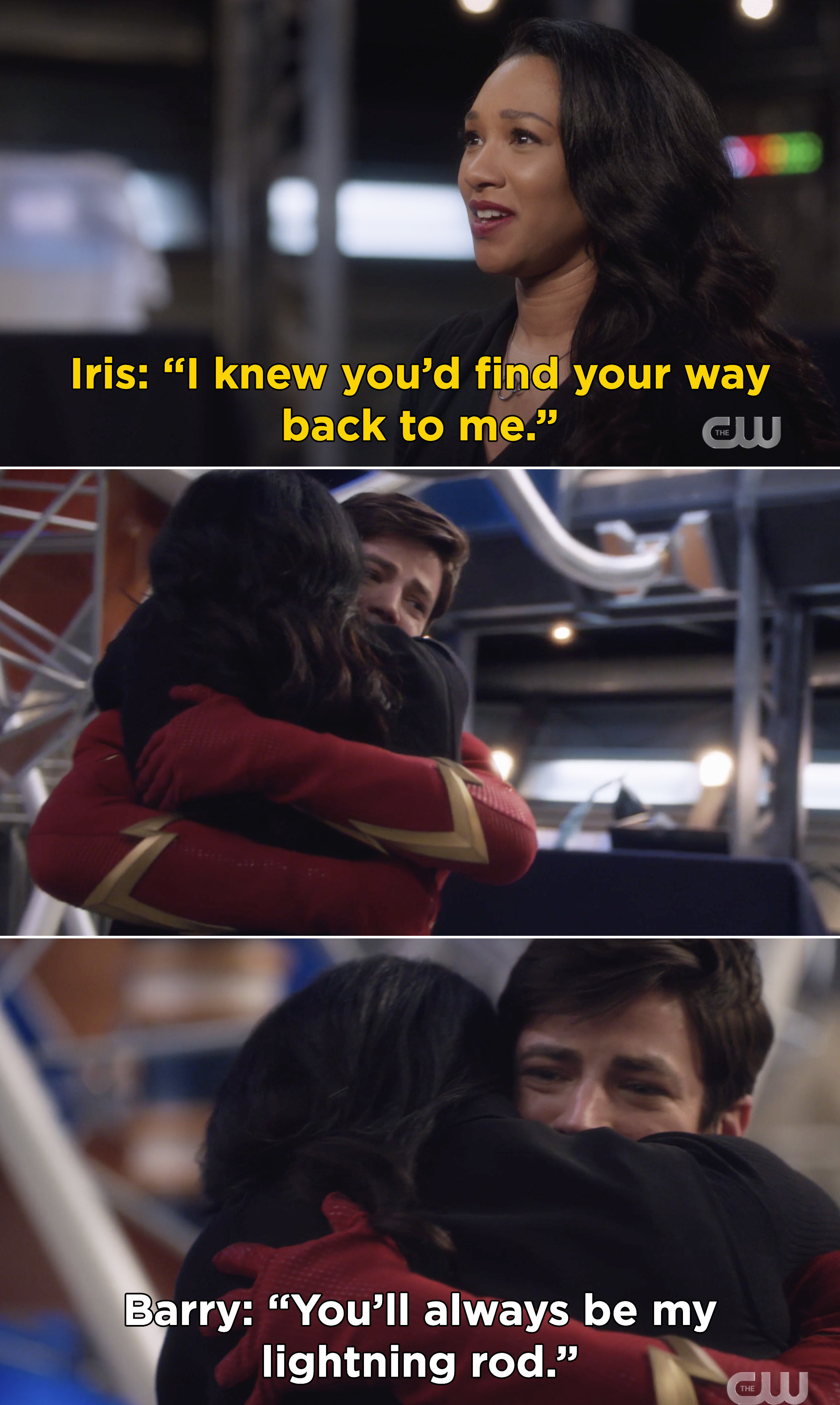 """Iris and Barry hugging and Iris saying, """"I knew you'd find your way back to me"""""""