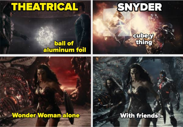 In the theatrical release, the unity look like a ball of aluminum foil while it's more cube-like in the Snyder cut