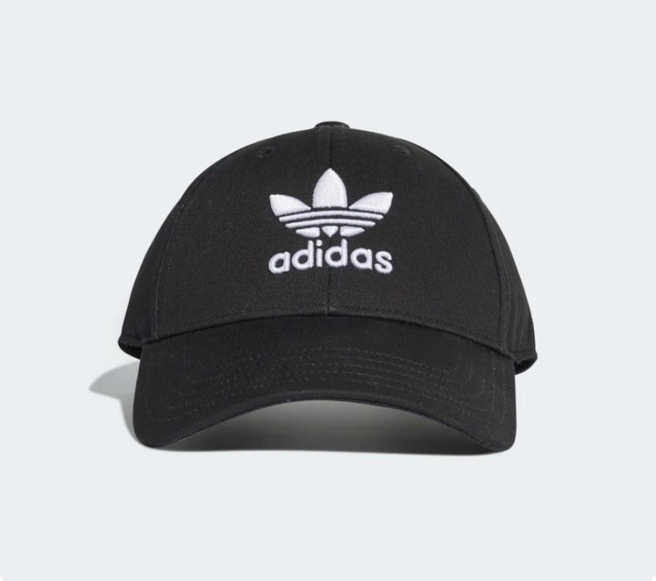 Black baseball cap with white Adidas logo