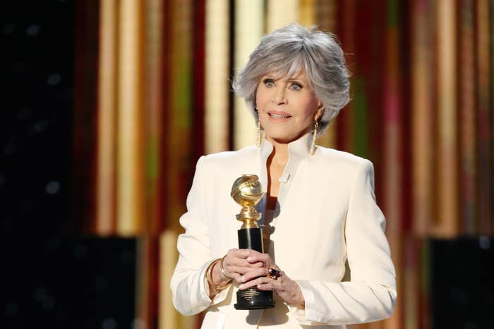 Jane speaks on stage at the Golden Globes