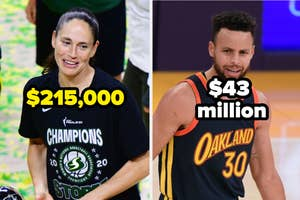 Sue bird with the text $215,000 and stephen curry with the text $43 million