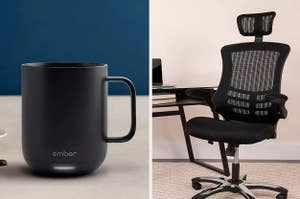 On the left, an Ember mug. On the right, an ergonomic desk chair
