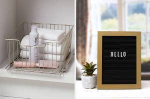to the left: a wire basket filled with towels, to the right: a letter board sign in a frame